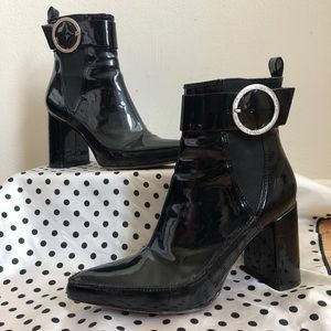 Patent Leather Buckle Booties